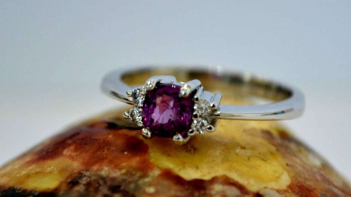 Pink Sapphire and White Sapphire Ring